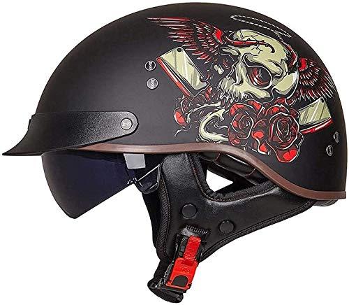 Cascos Moto Cascos Half-Helmet Abierto Medio Casco Motocicleta Retro con Visera Cascos Vintage Style Helmet Bici Viaje Crucero Scooter para Adultos Hombres Mujeres ECE Homologado D,M=55~56cm