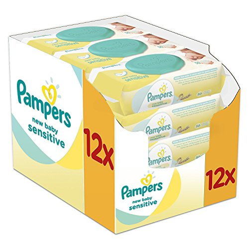Pampers New Baby Sensitive Feuchttücher, 12er Pack (12 x 50 Stück)
