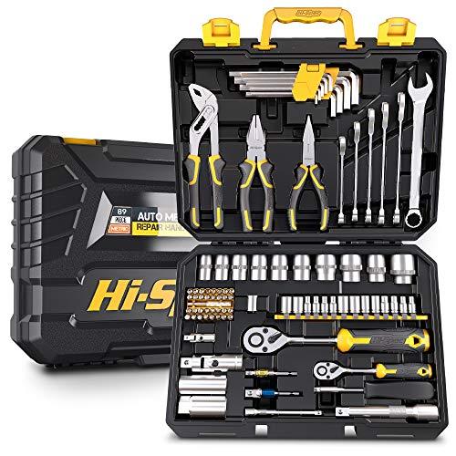 Hi-Spec 89-teiliges Heim & Werkstatt-Werkzeugset. Autoset, Motorrad & Heimreparaturen & Instandhaltung DIY Handwerkzeuge für die Werkstatt. Alles in einem Aufbewahrungskoffer