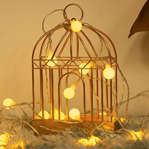 Fulighture LED Kugel Lichterkette,5M(16.41FT) 40er Globe LED mit Batteriebetrieben,2700K Warmweiß,IP65 Wasserdicht,Lichterkette Warmweiß für Weihnachten Party Garten Hochzeit Balkon Deko, Mehrfarbig
