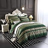 Softta Boho beddding Set Queen Size 3Pcs Bohemian Vintage Floral Duvet Cover Sets Colorful Stripe Damask Paisley Pattern 100% Brushed Cotton 1 Duvet Cover +2 Pillow Shams Green