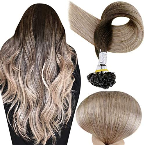 Full Shine Balayage Nail Tipped Hair Extensions 20 Inch Ombre Color 2 Fading To 6 And 18 Darkest product image