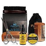 Kit de toilettage de barbe pour les hommes, huile de barbe, marié la moustache de barbe stimule la croissance des cheveux, baume à moustache, brosse à barbe, peigne à barbe, ciseaux à barbe 6pcs