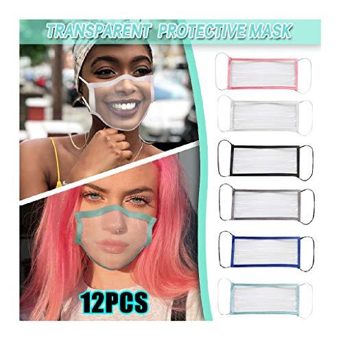 Jamicy 12 Stück Transparente Lippen Mundschutz mit klarem Fenster, Waschbar Staub mundschutz Wiederverwendbare für Erwachsene zum Laufen, Radfahren