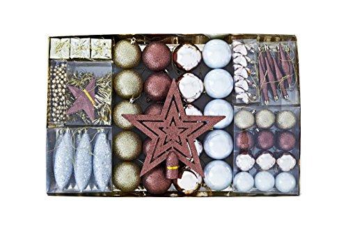 HEITMANN DECO Weihnachtsbaum-Schmuck - Gold/braun/Perlmutt - 60-teilig - Set inkl. Baumspitze, Kugeln, Perlkette, Girlande und Sterne - Kunststoff
