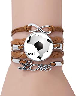 DIYthinker Soccer Brazil Map Shape Brazil Slogan Bracelet Love Twisted Leather Rope Wristband Jewelry