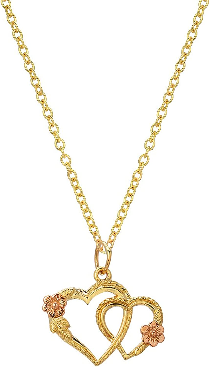 14K Yellow and pink gold Double Heart pink Pendant Necklace, 18