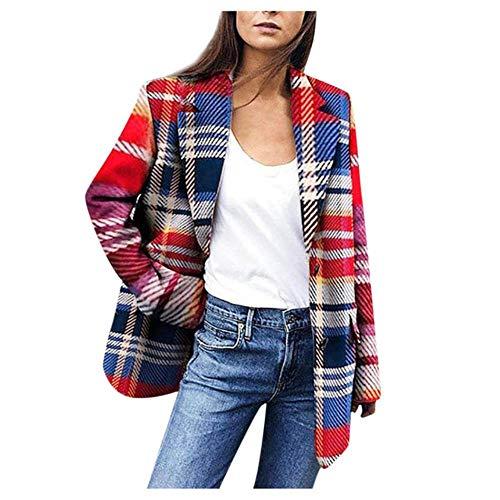 HSDFKD Red Plaid Blazer Damen Frühling-Herbst Tweed Anzüge Jacken Büro Damen Chic Slim Blazer Mädchen Quaste Tops Set Mantel, Rot, XXL