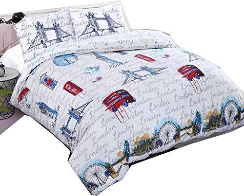 London Duvet Cover - London Print Pattern Duvet Bedding With Pillow Case White Bedding Cotton Duvet Cover Set 200 TC Quilt Reversible Bedding Sets (Single)