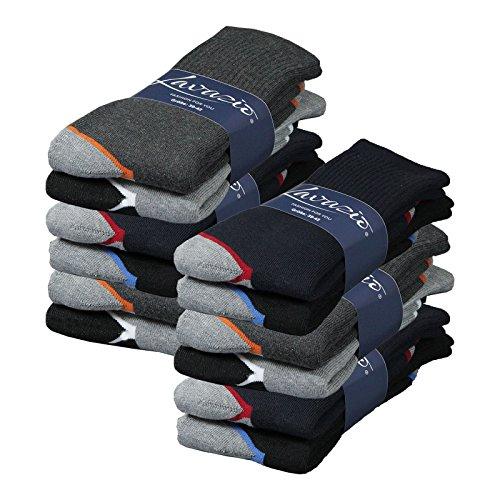 Lavazio® 6 | 12 | 18 | 24 Paar Herren Arbeitssocken Sportsocken Thermo Socken dick & herrlich in dunklen Farben, Größe:40-44 (wie 39-42), Farbe:mehrfarbig - als 12 Paar Packung