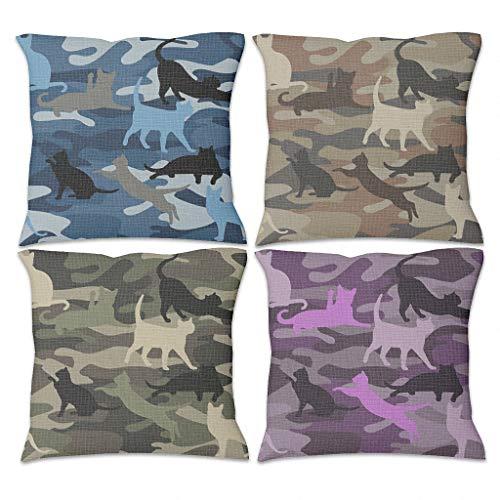Zhouwonder Fundas de almohada decorativas de cuatro piezas con cremallera para el sofá del hogar, diseño de gato, color blanco, 45 x 45 cm