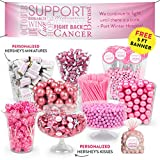 Breast Cancer Awareness Pink Candy Buffet (approx 14lbs) - Includes Hershey's Kisses & Miniatures, Lollipops, Frooties, Gumballs and More