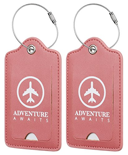 Chelmon Leather Luggage Tags Baggage Bag Instrument Tag 2 Pcs Set (Red Tabasco Pepper 2098)