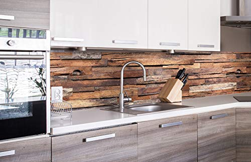 DIMEX LINE Küchenrückwand Folie selbstklebend HOLZWAND | Klebefolie - Dekofolie - Spritzschutz für Küche | Premium QUALITÄT - Made in EU | 260 cm x 60 cm
