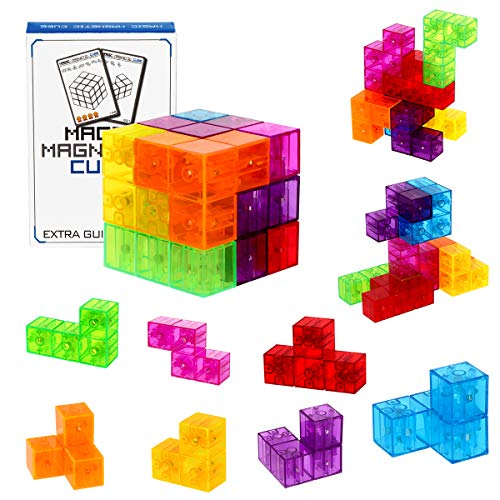 Magnetic Building Blocks Magic Magnetic 3D Puzzle Cubes, Set of 7 Multi Shapes Magnetic Blocks with 54 Guide Cards, Intelligence Developing and Stress Relief Fidget Toys