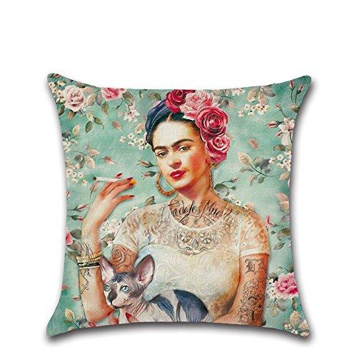 Hecha de material de alta calidad, duradero y suave. Funda de cojín con diseño de autorretrato de la pintora mexicana Frida Kahlo. Una bonita decoración para el hogar. Material:algodón lino; tamaño:45 x 45cm aproximadamente. Adecuada para casas, coc...