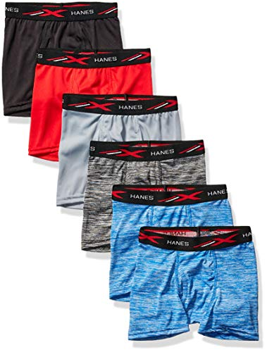 Hanes Boys' Breathable Tagless Boxer Brief, 6-Pack, Assorted Space Dyes & Solids, Large
