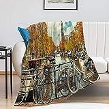 Promini Manta horizontal para bicicleta en el Canal de Amsterdam City para todas las estaciones, cálida y ligera, manta de franela para sofá cama
