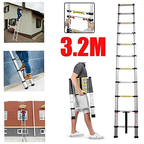 Telescopische ladder van 5 m, uittrekbaar voor zwaar werk, inklapbaar, van aluminium, compact, antislip, multifunctionele ladder, 150 kg, maximale belasting, eenvoudige opslag – een staaf 3.2m Straight Ladder