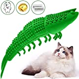 RUCACIO Cat Toys Interactive Kitty Catnip Toys Cat Treat Toy Kitten Stuff Toothbrush Teeth Cleaning Chew Toy Lobster Shape Great Christmas Gifts100% Natural Rubber Bite Resistance