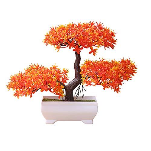ekqw015l Artificial Bonsai Tree - Fake Plant Decoration,Welcoming Pine Bonsai Simulation Artificial Potted Plant Ornament Home Office Bathroom Home Kitchen Bookshelf Garden Decor Sunset Red