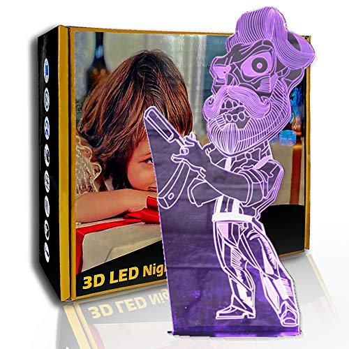 KangYD Barber Shave LED Illusion Nachtlicht, 3D Mood Lamp, Wohnkultur, B - Remote Black Base (7 Farben), Geschenk für Jungen, Tischlampe, Hohe Qualität, Kunsthandwerk