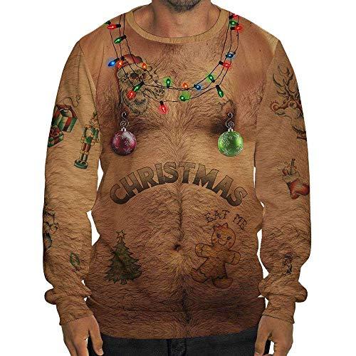 KPILP Herren Lustig Weihnachten 3D Drucken Pullover Weihnachtspullover Mit Kapuze Lange ÄRmel Christmas Sweatshirt Ugly Christmas Shirt Hemd Oberteile Große Größen