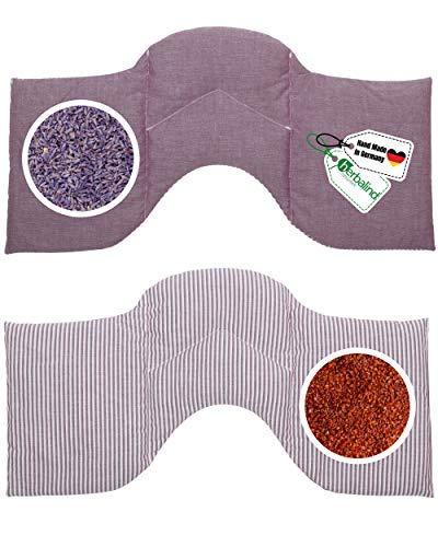 HERBALIND 4-Kammer Wärmekissen Aroma Körnerkissen Lavendelkissen - 50x25 cm für Nacken Schulter in Streifen/lila - 100{b57dfd656cd603de65947d3bee0a11c5cdc4357d85310b0412d819c253f20c2e} Baumwolle OEKO TEX Rapssamen- und Lavendel Füllung Mikrowelle geeignet