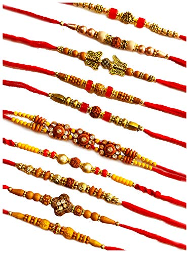 Krishna Rakhi™ Exclusive Rakhi Combo Of 10 Pieces With Roli Chawal. All Delicate Sleek Designs.(Sanitized before packing)