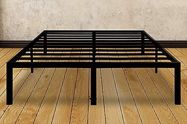 全尺寸 14 英寸重型钢床架,带防 slip 支撑床垫基础,带大床下储物无噪音,无需盒弹簧,黑色