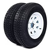 Motorhot 2X 14' White Spoke Trailer Wheel Bias ST205/75D14 Tire and Rim 5 Lugs on 4.5' 5x4.5 Bolt Circle LRC 6 Ply