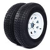 Motorhot 2X 14' White Spoke Trailer Wheel Bias ST205/75D14 Tire and Rim 5 Lugs on 4.5' 5x4.5 Bolt Circle LRC 6 Ply