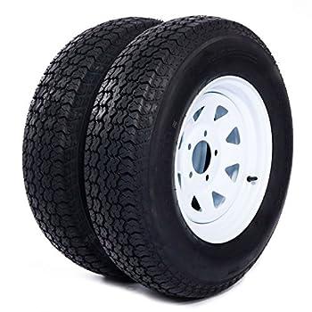 Motorhot 2X 14  White Spoke Trailer Wheel Bias ST205/75D14 Tire and Rim 5 Lugs on 4.5  5x4.5 Bolt Circle LRC 6 Ply