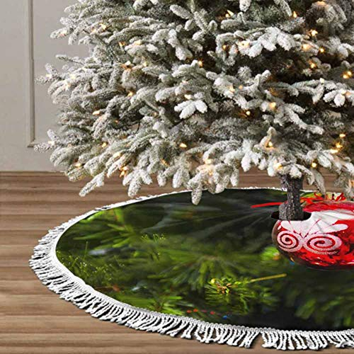 Christmas Tree Skirt, 48 inches Christmas Decoration Fringed Lace (Decoration Red Ball) Themed with Christmas Ornaments
