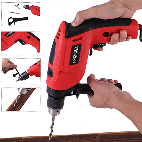 650W Electric Hammer Drill, Professional Corded Impact Hammer Drill with Drill Bit Set Tool Kit, Variable Speed Rotary Hammer Drill for Wood, Concrete, Steel