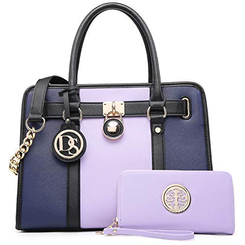Women Handbags Purses Two Tone Satchel Bags Top Handle Shoulder Bags Work Tote with Matching Wallet (Light Purple/Navy)