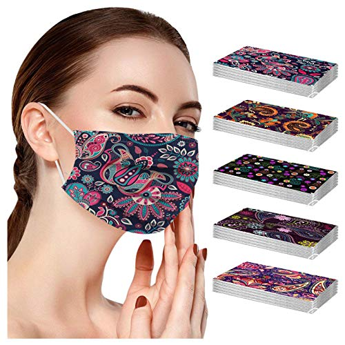 POTTOA 50pcs Paisley Floral Disposable Face_mask. with Designs for Women Girls Adults Colored Paper_Face_mask for Coronɑvịrus Protection Breathable 3 Layers with Nose Wire for Outdoor (50, 5 Color)