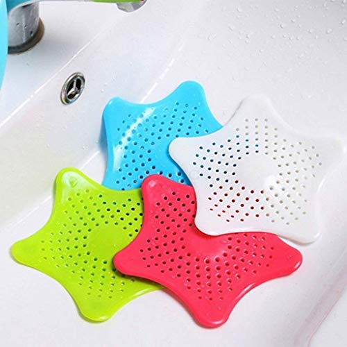 Generic Silicone Star Design Kitchen and Bathroom Sink Filter/Hair Catcher/Waste Stopper Strainer,Multi Colorpack of 2