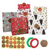 Sacs-cadeaux de Noël,Kit de sacs d'emballage cadeau en papier 24 pièces avec 24 autocollants/1 corde de chanvre/2 cordes de ruban pour le Nouvel An présente des cadeaux,9 pouces sacs-cadeaux de Noël