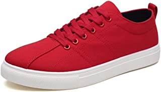 Shangruiqi Fashion Sneaker for Men Skate Shoes Lace Up Cloth Vegan Sewing Thread Lightweight Outdoor Sport Running Casual Round Toe Anti-Wear (Color : Red, Size : 8.5 UK)