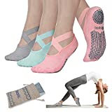 Yoga Socks for Women Non-Slip Grips & Straps, Ideal for Pilates, Pure Barre, Ballet, Dance, Barefoot Workout (3 Pairs-Gray/Green/Pink, One Size (Women 5.5-11))