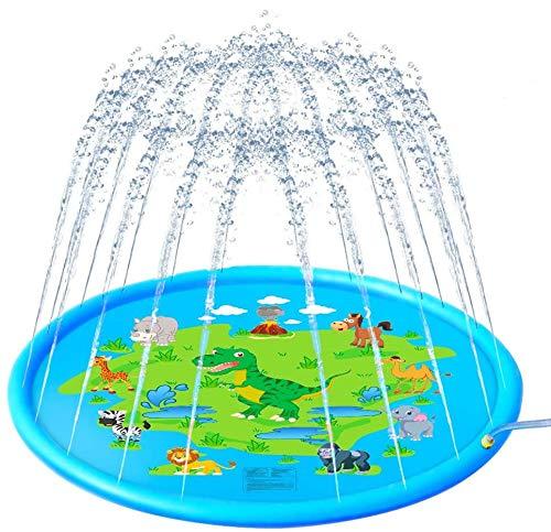 Pulchram Splash Pad , Almohadilla de Aspersión de 170 cm Water Play Mat Party Sprinkler Splash Pad Summer Spray Juguetes para Niños y Mascotas Jardín al Aire Libre Actividades Familiares (Azul 2)