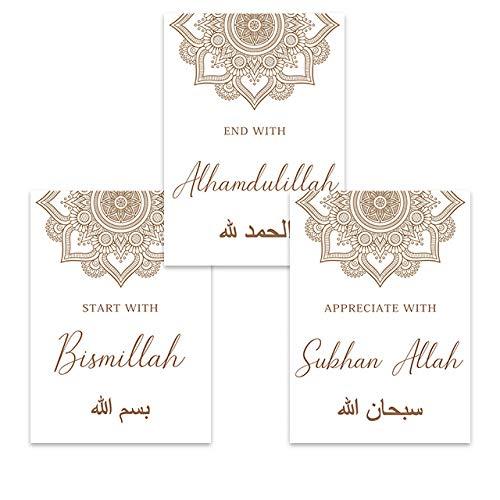 Allah Bismillah Art Prints Poster islámico Caligrafía árabe Cuadros de Arte de Pared Religión Floral Pintura Sala de Estar Dormitorio Decoracion 40x60cmx3 Sin Marco