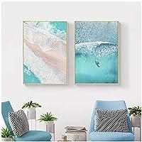ウォールアート、ボートオーシャンウェーブオーバーヘッド画像ネイチャーポスター北欧の装飾サンディビーチバスプリントキャンバス絵画フレームなし