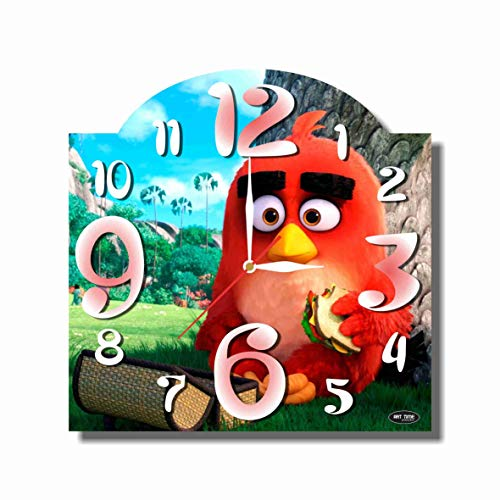 MAGIC WALL CLOCK FOR DISNEY FANS The Angry Birds-Red 11'' Handmade made of acrylic glass - Get unique décor for home or office – Best gift ideas for kids, friends, parents and your soul mates