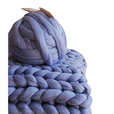 HomeModa Studio 100% Non-Mulesed Chunky Wool Yarn Big chunky Yarn Massive Yarn Extreme Arm Knitting Giant Chunky Knit Blankets Throws Grey White (1kg-2.2lbs, Violet)