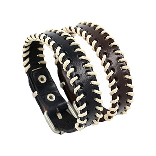 See Bello Men's Leather Bracelet Unisex Bangle Wristband Cuff Hemp Grid Mesh Braided Bracelet Set of 2 - Black&Brown