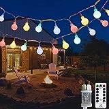 Lichterkette Außen bunt Glühbirnen, 12M 120 LED mit 31V Transformator, 8 Modi Weihnachten...