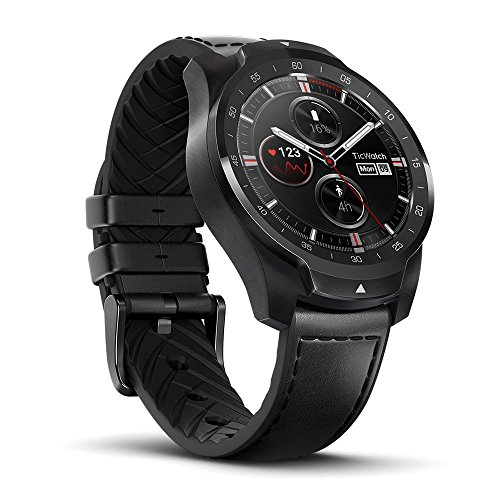 Ticwatch Pro Bluetooth smartwatch, gelaagd display, NFC-betaling, Google Assistant, Android Wear, compatibel met iOS en Android (zwart)
