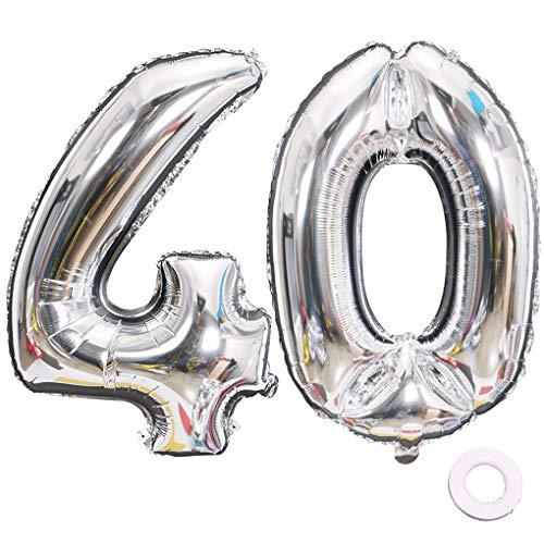 Jurxy Luftballon Zahl 40 Silber Geburtstag Folienballon Helium Folie Luftballons für Geburtstag Jubiläum 40 Zoll - Riesenzahlen #40